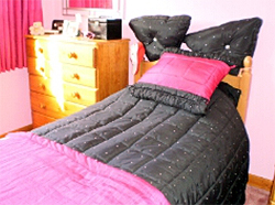 Black And Pink Square Quilt And Pillows