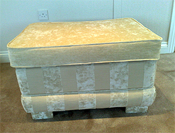 Cream & Ivory Chenille Storage Footstool