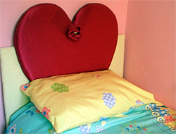 Faux Silk Heart Shaped Headboard in Pink