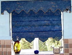 Blue Arrowed Edged Roman Blind