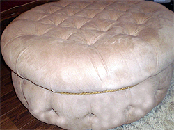 Deep Buttoned Faux Suede Footstool in Nutmeg